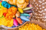 colorful silk thread and silkworm cocoons - 73679133