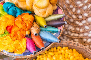 colorful silk thread and silkworm cocoons