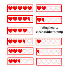 Rating red hearts isolated on white. Vector illustration