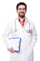 Portrait of handsome medical doctor holding a clipboard, isolate