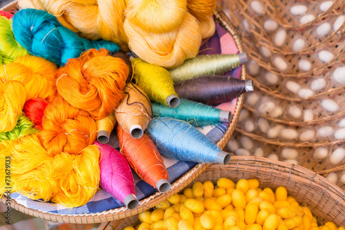 Leinwanddruck Bild colorful silk thread and silkworm cocoons