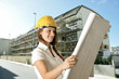 Woman architet on the building site