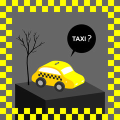 Taxi, yellow cab urban transportation