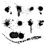 Vector Black ink blot, artistic paint splash set, collection