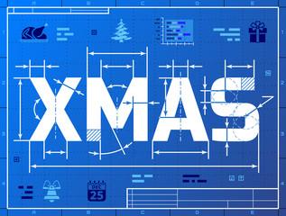 Word XMAS like blueprint drawing. Drafting of Christmas