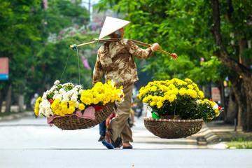 Life of florist vendor at small market in HANOI,vietnam