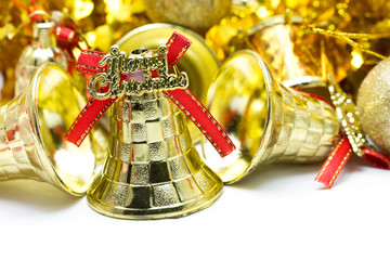 Christmas background with golden bell ornament