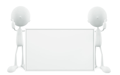 3d White Character with board
