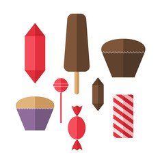 Sweet food. Icon set. Candy