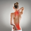 Leinwanddruck Bild - Lumbago and backbone stretch concept. Painful woman's back