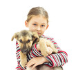 kid and puppy on a white background isolated