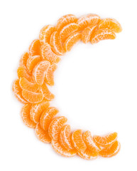 Vitamin C concept (letter C made of orange slices)