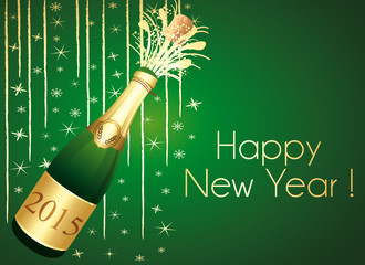 Gold and green Champaign greeting card. Happy New Year !