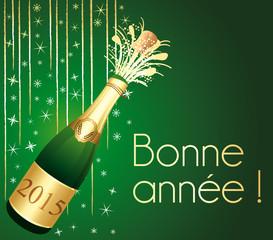 Bonne année 2015 ! Carte de voeux Champagne verte et or.