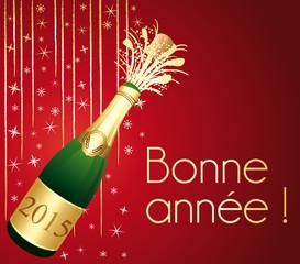 Bonne année 2015 ! Carte de voeux Champagne rouge et or.
