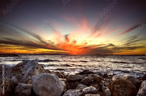 Fototapeta Majestic sunset over the sea Greece