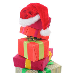 Santa Claus hat with Christmas presents
