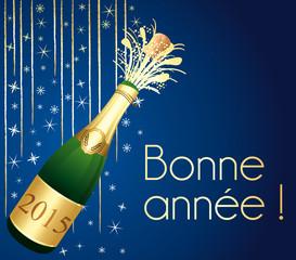 Bonne année 2015 ! Carte de vœux Champagne bleue et or.