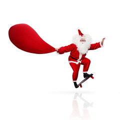 Santa Claus skateboarding isolated on white