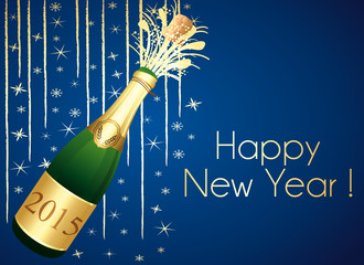 Gold and blue Champaign greeting card. Happy New Year !
