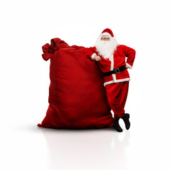 Santa with huge sack isolated on white