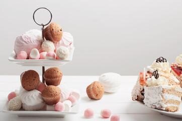 dessert on white table