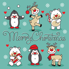 set cute animals with merry christmas
