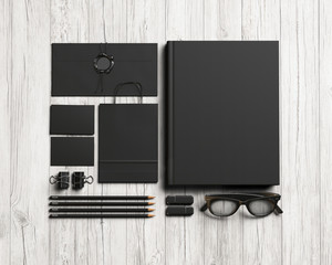 Set of black stationery elements
