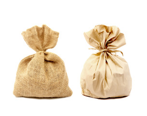 Sacks bag and paper bag isolated on white background.