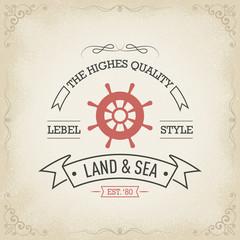 Nautical vintage hand drawn banner