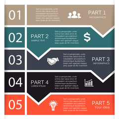 Vector lines arrows for infographic, diagram. 5 steps, options.