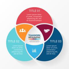 Teamwork social infographic, diagram, presentation. 3 options.