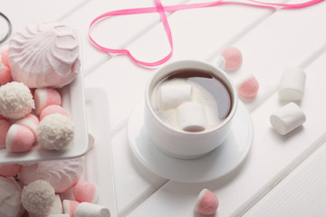 cup of coffee with marshmallow for valentine's day