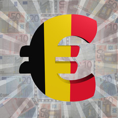 Euro symbol with Belgian flag on Euro currency illustration