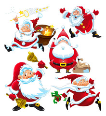 Set of funny Santa Claus