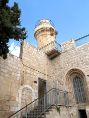 Fortification and tower in the old city on the Mount Zion. Israe