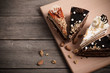 cake on old wooden background - 73684596
