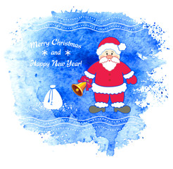 Merry Christmas vector greeting card with Santa Claus.