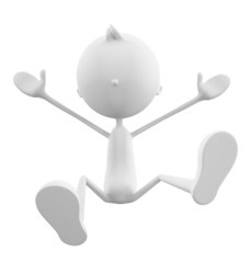 White character with jump pose