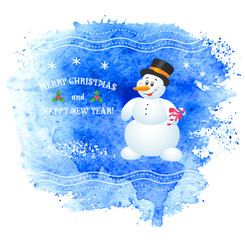 Merry Christmas vector greeting card with snowman.