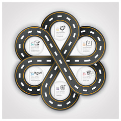 Road And Street Traffic Sign Business Infographic With Weaving C