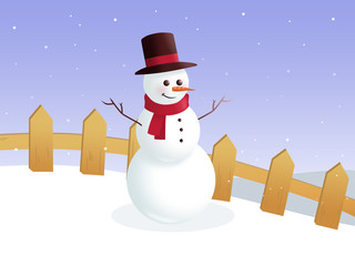 Snowman and fence