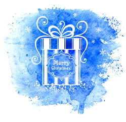 Merry Christmas gift box. Vector greeting card.