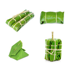 packages of banana leaves on white background