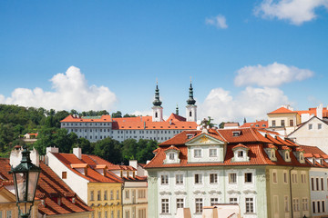 skyline of Prague with Strahov monastery