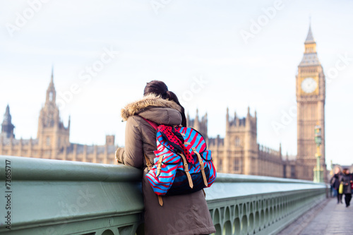 London Tourist looking at Big Ben from a Westminster Bridge - 73685717
