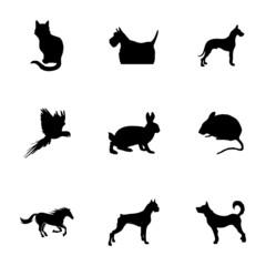 Vector black pet icons set