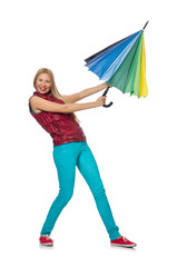 Young woman with colourful umbrella isolated on white