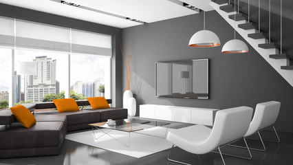 Modern interior with two armchairs and sofa 3D rendering