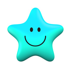 Blue smiling star isolater on white background